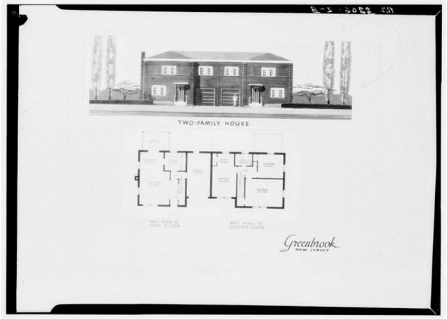 Drawing and plan of two-family house. Green Brook, New Jersey
