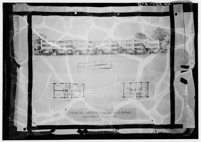 Plan and drawing of multi-family building. Greenbelt, Maryland