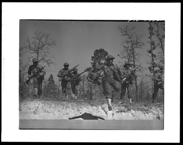 Fort Bragg, North Carolina. Sergeant Williams leading his platoon in charge