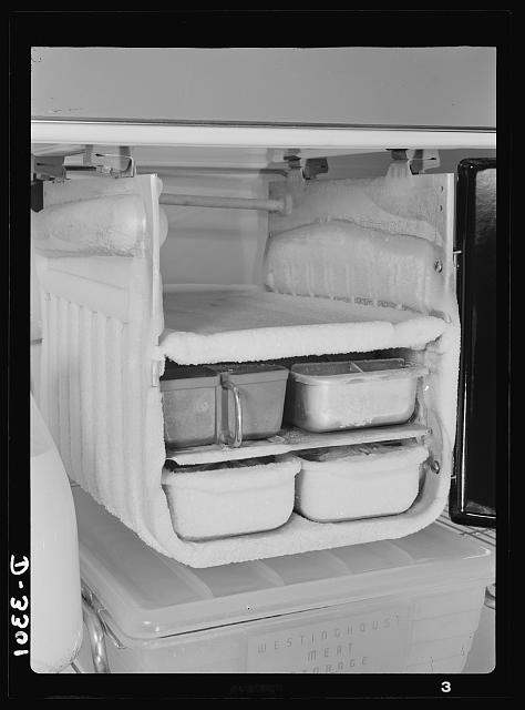 "Conservation of durable goods. Old Man Winter comes to the refrigerator. This unfortunate freezing compartment is lumbering along day and night, coated with excess frost. Defrost frequently, keep the cold control set at ""low"" except when freezing ice cream or ice cubes, and keep the frost formation below 1/4-inch thick to assure best"