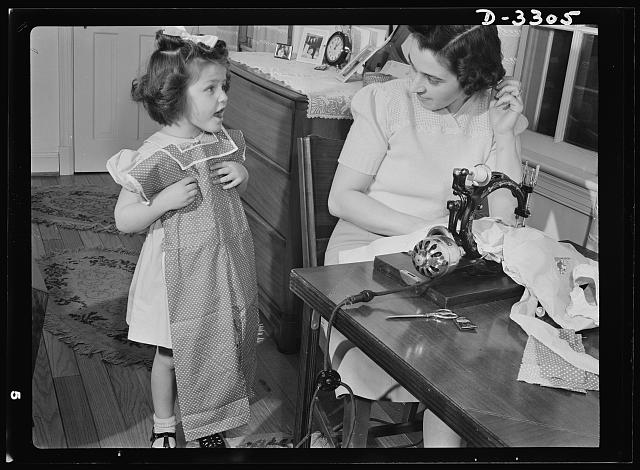 """Can I wear it today?"" Attractive playsuits for daughter can be made from that old housedress, the one with the splitting seams, and Junior's first long pants (no cuffs) can emerge from father's old overcoat. With shortages of wool and other materials that are needed by the armed forces, it's wise, mother, to conserve clothing by altering and"