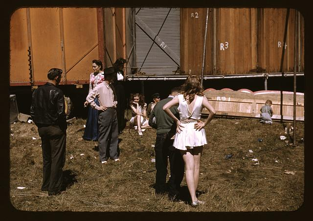 """Backstage"" at the ""girlie"" show at the Vermont state fair, Rutland"