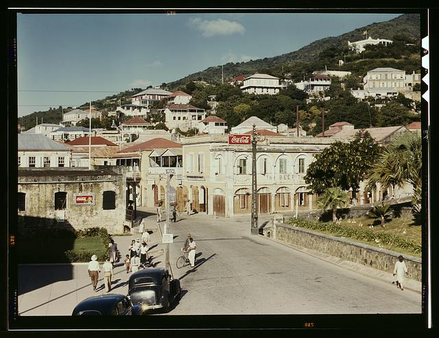 View down the main street from the Grand Hotel, Charlotte Amalie, St. Thomas Island, Virgin Islands