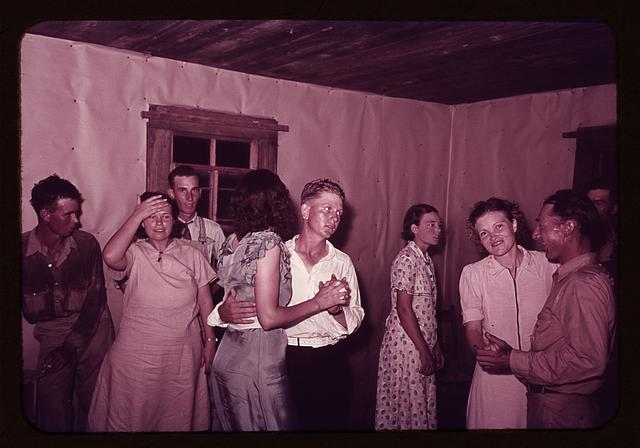 Scene at square dance in rural home in McIntosh County, Oklahoma