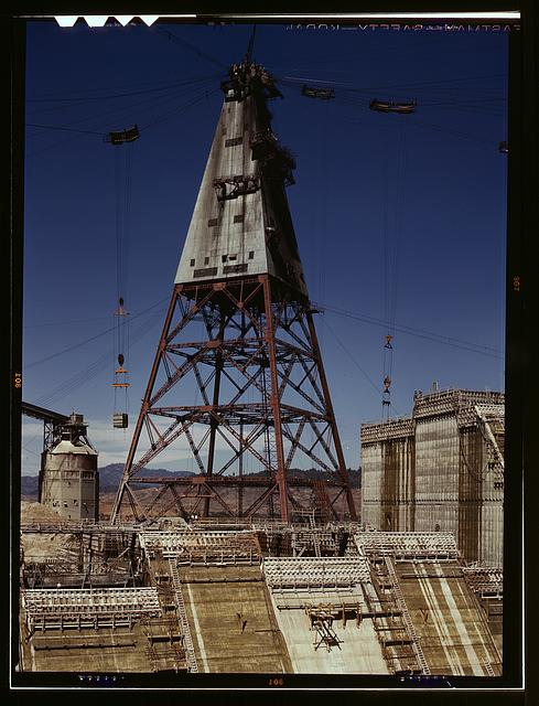 Central tower from which cable buckets carry materials used in the construction of Shasta dam, California