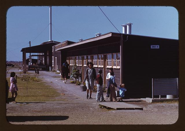 Gardens are planted in front of the row shelters, FSA ... labor camp, Robstown, Tex.