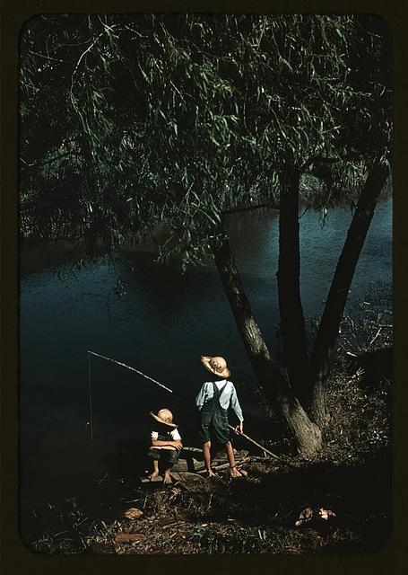 Boys fishing in a bayou, Schriever, La.