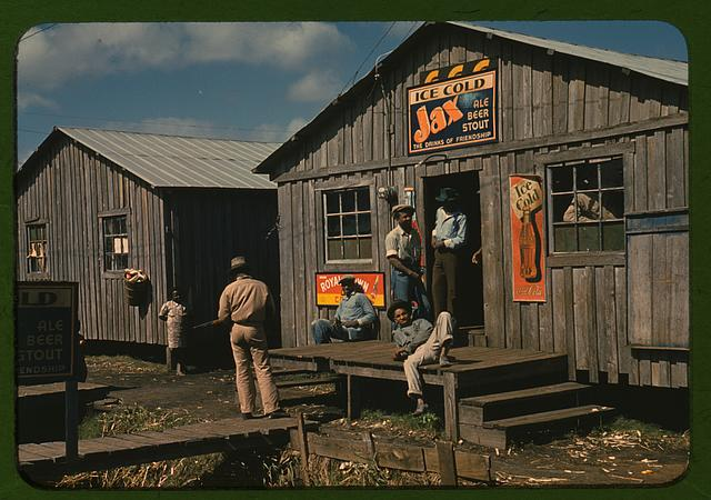 "Living quarters and ""juke joint"" for migratory workers, a slack season; Belle Glade, Fla."