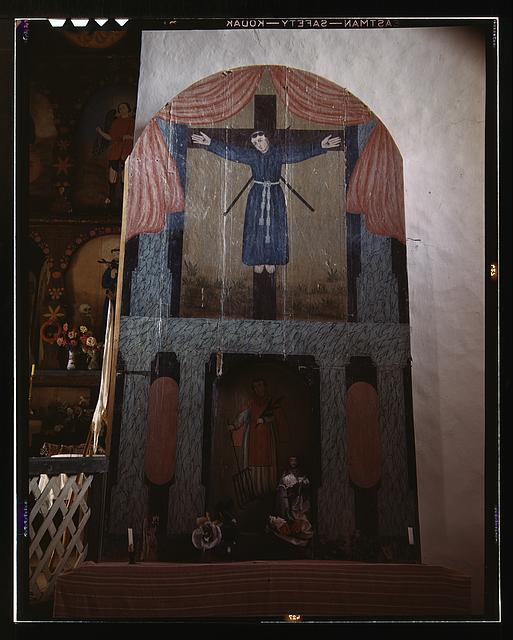 Side altar in the church dedicated to San Lorenzo and San Felipe de Jesus, Trampas, New Mexico