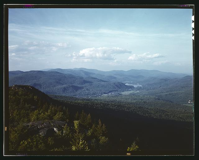 A view looking northeast from the fire tower manned by Barbara Mortensen, a fire and airplane lookout on Pine Mountain, Gorham vicinity, N.H.