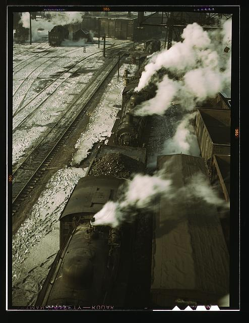 Locomotives lined up for coal, sand and water at the coaling station in the 40th Street yard of the C & NW RR., Chicago, Ill.