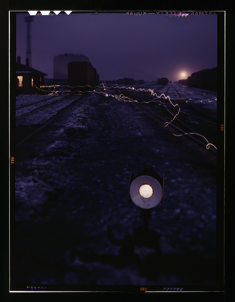 Jack Delano railyard image at twilight