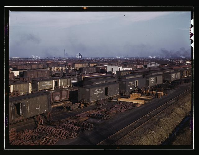 Freight cars being maneuvered in a Chicago and Northwestern railroad yard, Chicago, Ill.