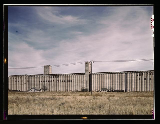 Grain elevators along the route of the Atchison, Topeka, and Santa Fe Railroad, Amarillo, Texas. Santa Fe trip