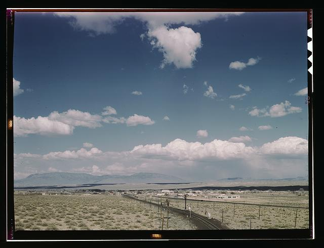 Santa Fe R.R. line going to Albuquerque, New Mexico, past the Isleta Indian reservation, Isleta, N[ew] Mex[ico]