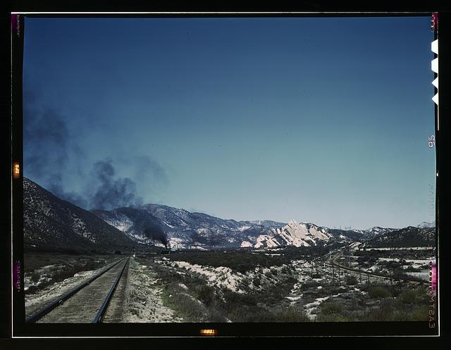 Freight train going up Cajon Pass through the San Bernardino Mountains, Cajon, Calif.