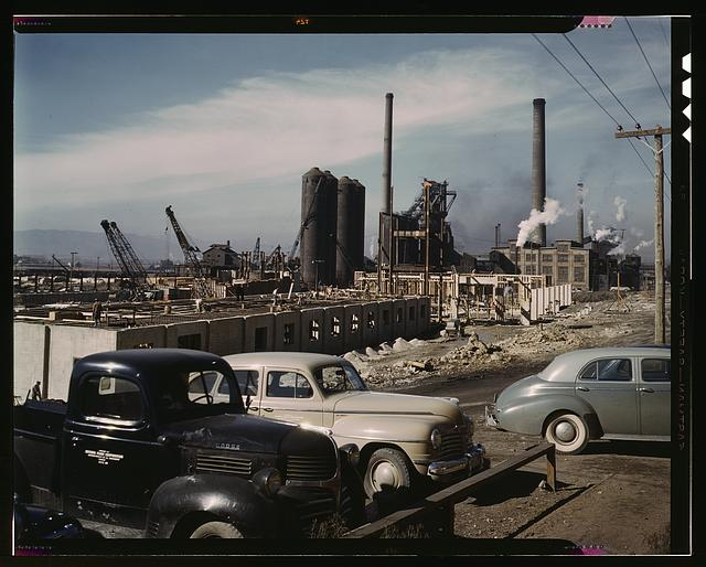 Steel and concrete go into place rapidly as a new steel mill takes form, Columbia Steel Co., Geneva, Utah. The new plant will make important additions to the vast amount of steel needed for the war effort