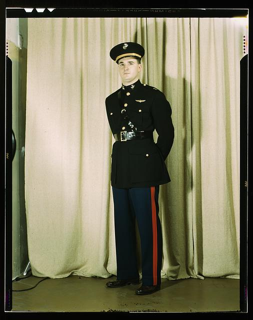 Marine Corps Captain in dress blue uniform, W[orld] W[ar] II