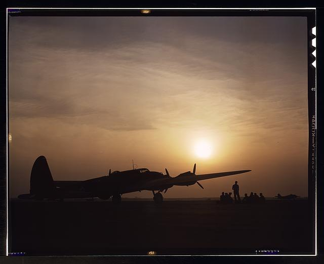Sunset silhouette of flying fortress, Langley Field, Va.