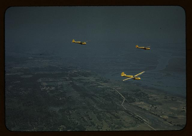 Marine Corps gliders in flight out of Parris Field, S.C.