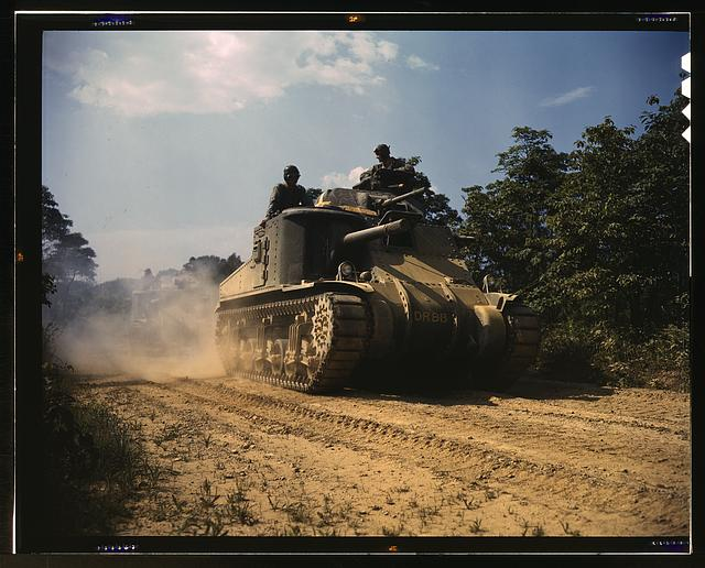 M-3 tanks in action, Ft. Knox., Ky.