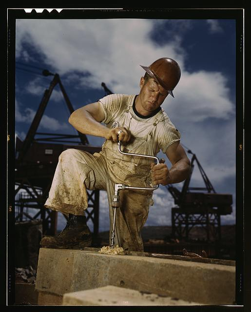 Carpenter at work on Douglas Dam, Tennessee (TVA)