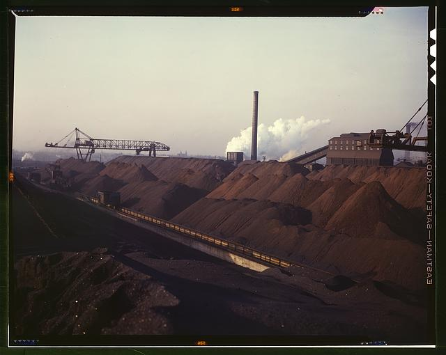 Hanna furnaces of the Great Lakes Steel Coporation, stock pile of coal and iron ore, Detroit, Mich.