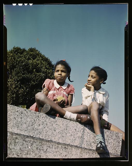 Two little girls in a park near Union Station, Washington, D.C.