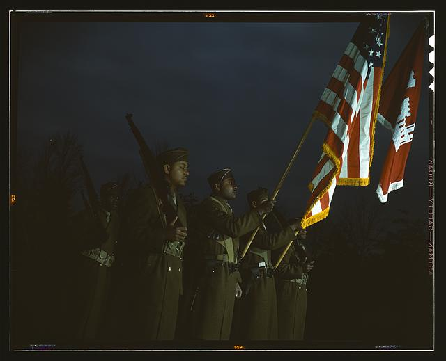 Color guard of Negro engineers, Ft. Belvoir(?), [Va.]