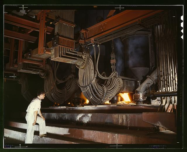 [Electric phosphate smelting furnace used in the making of elemental phosphorus in a TVA chemical plant in the Muscle Shoals area, Alabama]