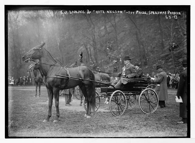 "E.J. Laplace and horse ""Kate Nelson"" - first prize, Speedway Parade"