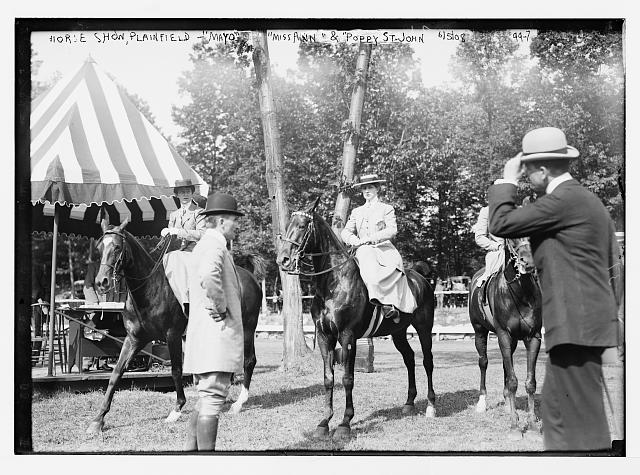 "Horse Show at Plainfield with ""Mayo"", ""Miss Ann"", and ""Poppy St. John"", and riders"