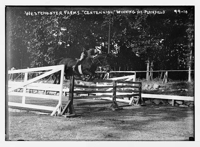"Plainfield Horse Show, ""Centennial"", of Westchester Farms jumping hurdle, winner"