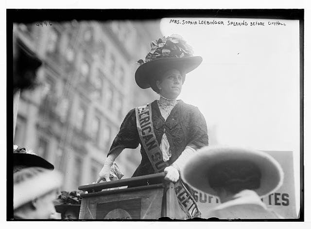 Suffragette Mrs. Sophia Loebinger speaking before City Hall, New York