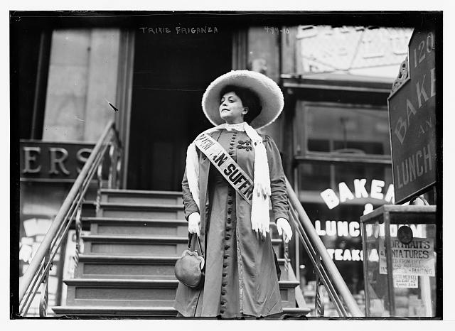 Suffragette Trixie Friganza, decending steps, New York