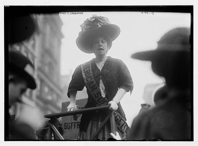 Suffragette Mrs. S. Loebinger speaking from platform, New York
