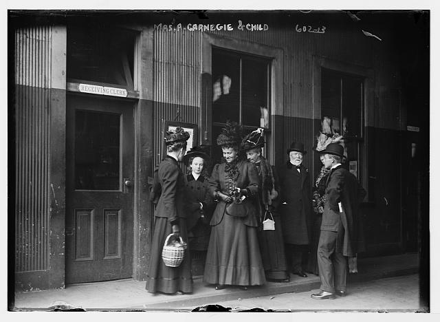 Mrs. A. Carnegie and others at railroad station, New York