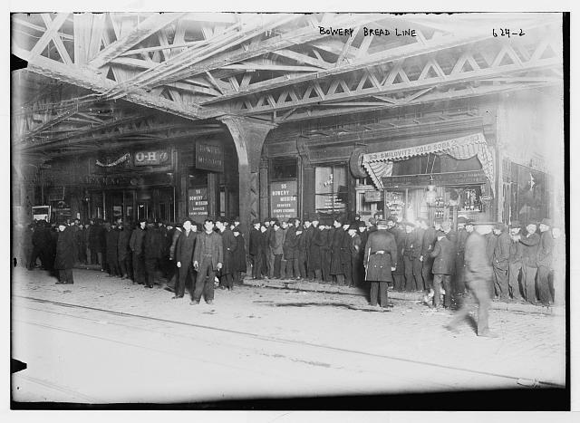 Bread line outside Bowery Mission, New York