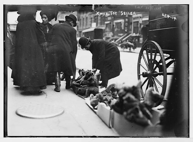 Vendor of Christmas toys, 6th Ave., New York