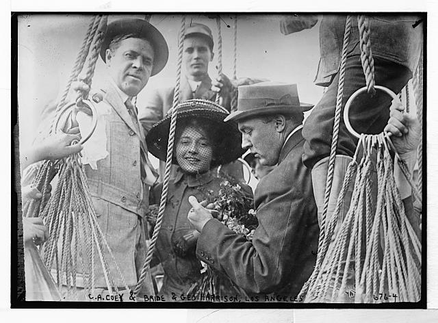 C.A. Coey and bride with Geo. Harrison, Los Angeles