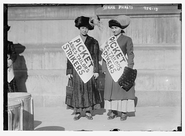 Women strike pickets from Ladies Tailors, New York