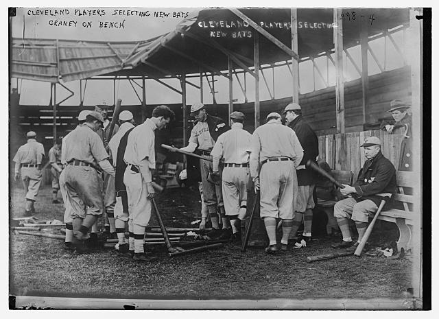 Cleveland [AL] ball players selecting new bats; Graney on bench