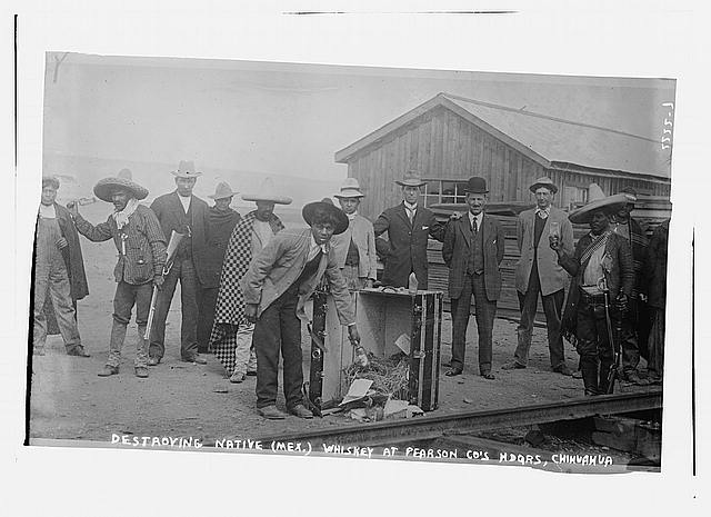 Destroying Native (Mex.) Whiskey at Pearson Co. Hdqrs., Chihuahua