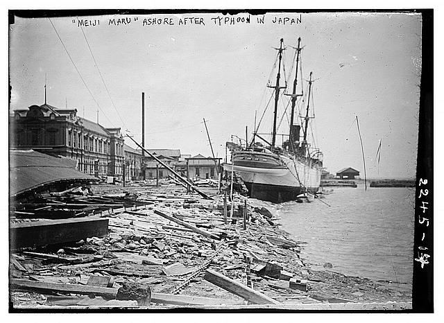"""Meiji Maru"" ashore after typhoon in Japan"