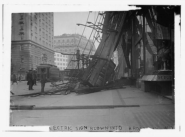 Electrical sign blown into Broadway, N.Y.