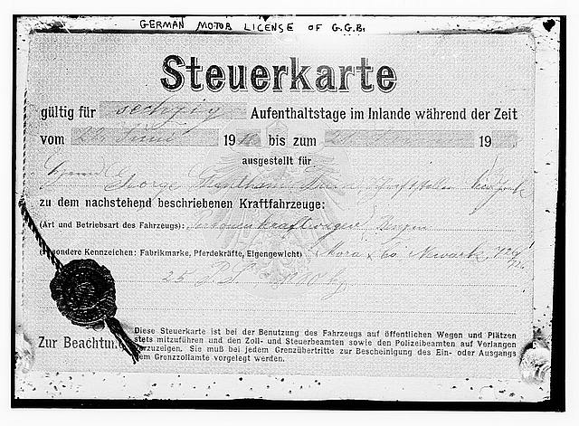 [German vehicle tax registration issued to George Grantham Bain]