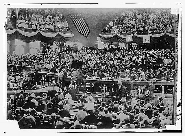 Roosevelt speaking in convention hall, Chicago
