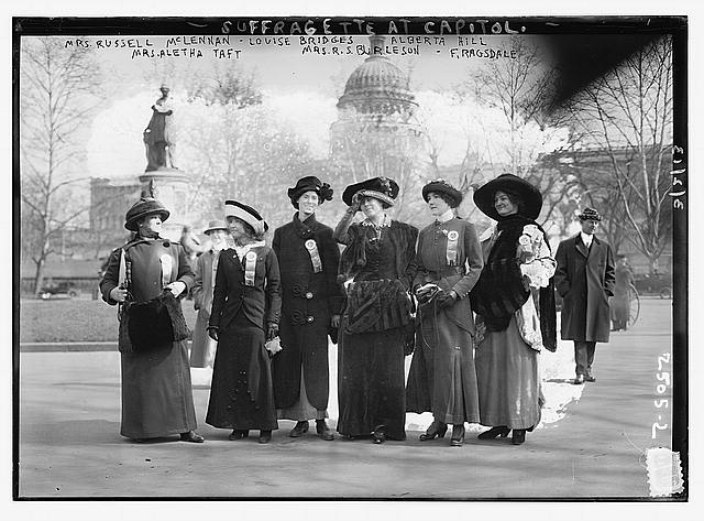 Suffragettes at capitol: Mrs. [Russell] McLennan, Mrs. Aletha Taft, Louise Bridges, Mrs. [Richard Coke] Burleson, Alberta Hill, F.  Ragsdale