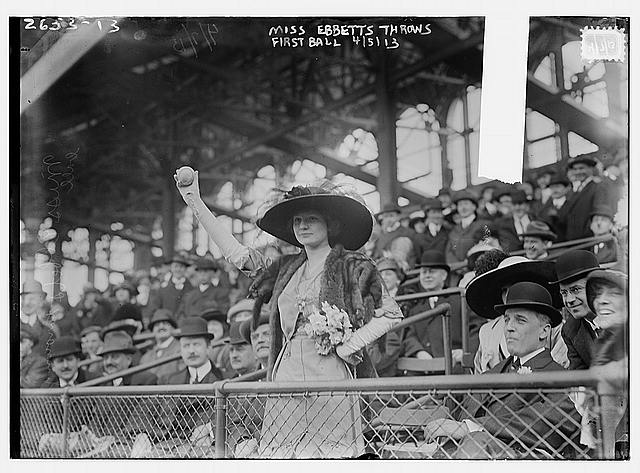[Miss Genevieve Ebbets, youngest daughter of Charley Ebbets, throws first ball at opening of Ebbets Field (baseball)]