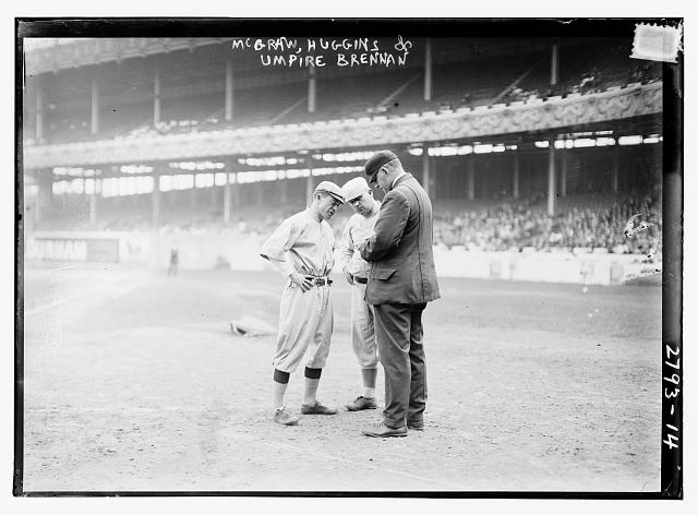 "[Managers John McGraw, New York NL, and Miller Huggins, St. Louis NL, with umpire William T. ""Bill"" Brennan"